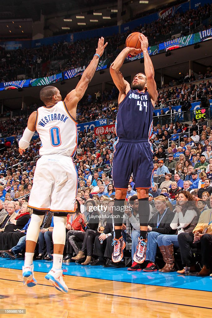 Jeffery Taylor #44 of the Charlotte Bobcats shoots a three-pointer against <a gi-track='captionPersonalityLinkClicked' href=/galleries/search?phrase=Russell+Westbrook&family=editorial&specificpeople=4044231 ng-click='$event.stopPropagation()'>Russell Westbrook</a> #0 of the Oklahoma City Thunder on November 26, 2012 at the Chesapeake Energy Arena in Oklahoma City, Oklahoma.