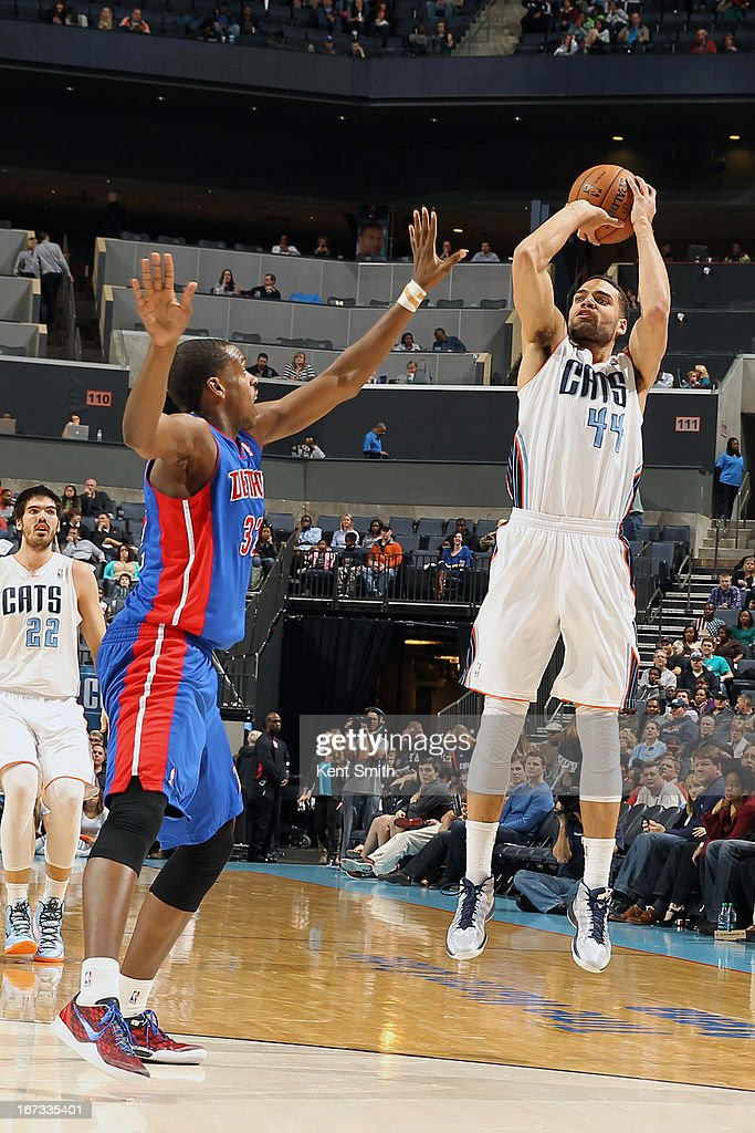 Jeffery Taylor #44 of the Charlotte Bobcats shoots the ball against the Detroit Pistons at the Time Warner Cable Arena on March 23, 2013 in Charlotte, North Carolina.