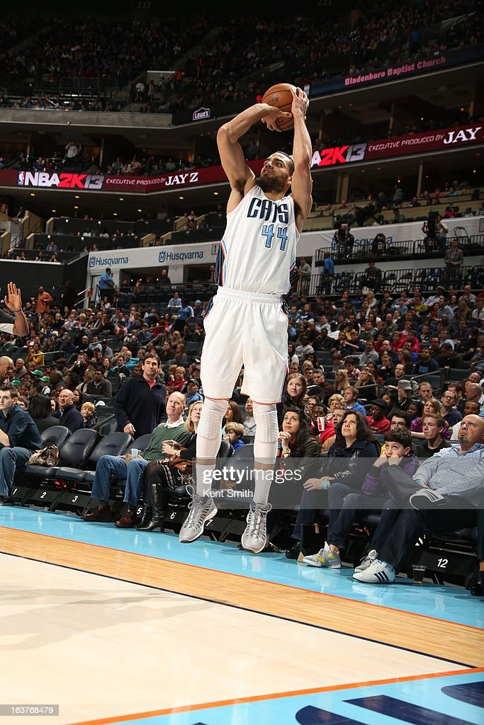 Jeffery Taylor #44 of the Charlotte Bobcats takes a shot against the Denver Nuggets at the Time Warner Cable Arena on February 23, 2013 in Charlotte, North Carolina.
