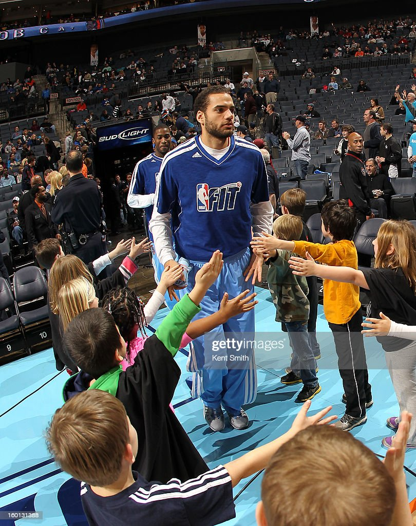Jeffery Taylor #44 of the Charlotte Bobcats wears a Fit T-shirt before the game against the Minnesota Timberwolves at the Time Warner Cable Arena on January 26, 2013 in Charlotte, North Carolina.