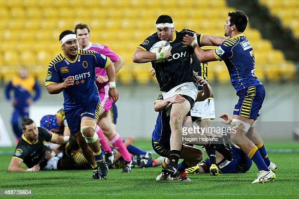 Jeffery To'omagaAllen of Wellington fends Adam Knight of Otago during the round six ITM Cup match between Wellington and Otago at Westpac Stadium on...
