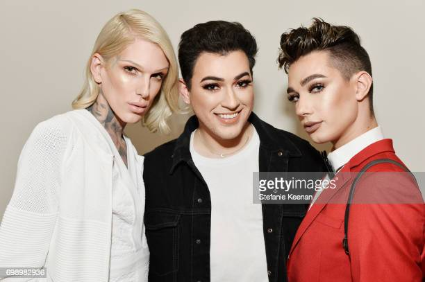Jeffree Star Manny Gutierrez and James Charles celebrate The Launch Of KKW Beauty on June 20 2017 in Los Angeles California