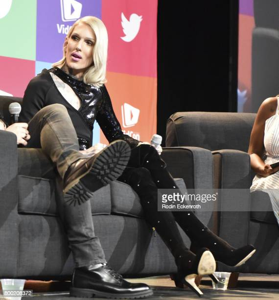 Jeffree Star speaks onstage at 2017 VidCon at the Anaheim Convention Center on June 23 2017 in Anaheim California