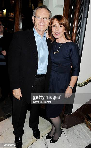 Jeffrey Archer and Kay Burley attend an after party following Press Night of 'Crazy For You' at Jewel Covent Garden on October 17 2011 in London...