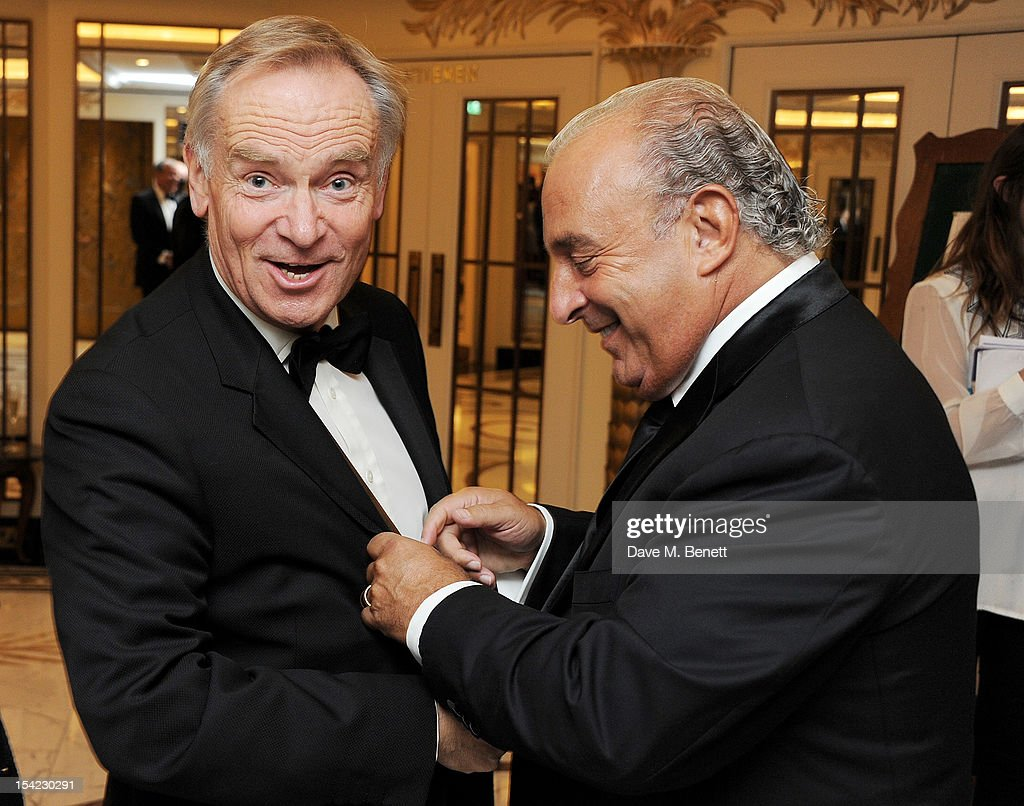 Jeffrey Archer (L) and Sir Philip Green attend Lord Coe's 'Journey to 2012' event for the PSP Association at The Dorchester on October 16, 2012 in London, England.