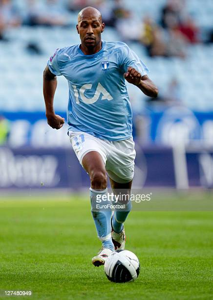 Jeffrey Aubynn of Malmo FF in action during the Allsvenskan League between Malmo FF and AIK Solna at the Swedbank Stadion on September 25 2011in...