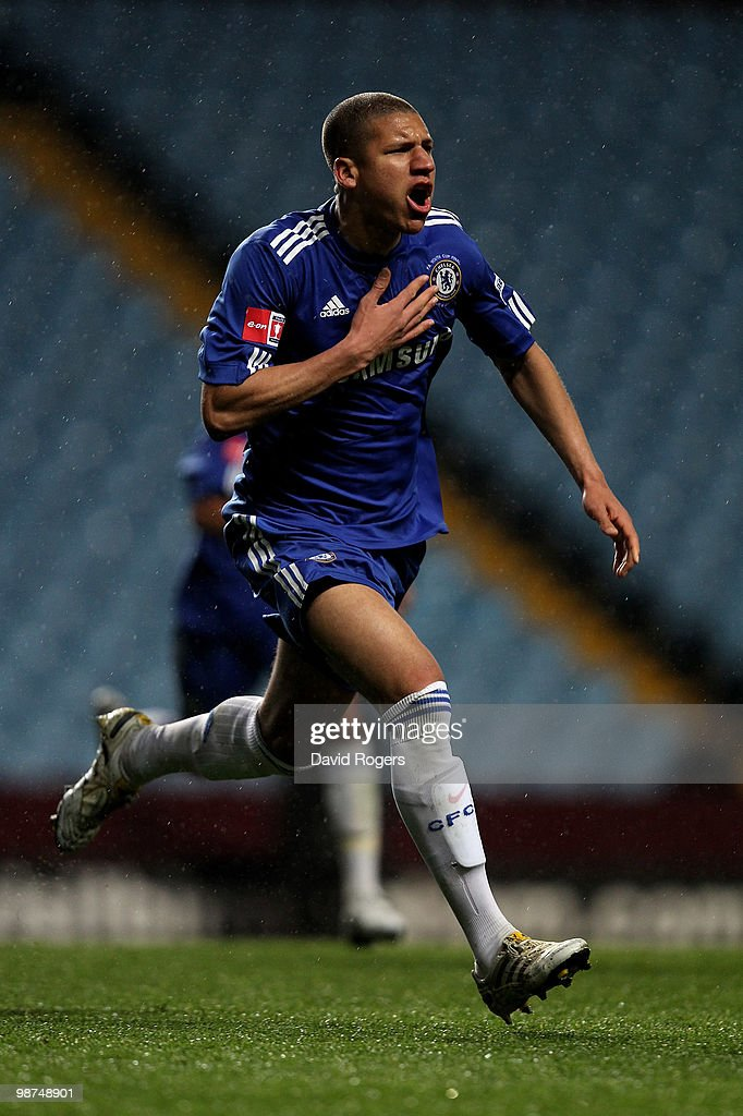 Jeffrey Bruma of Chelsea celebrates after scoring a goal during the FA Youth Cup Final 1st leg between Aston Villa and Chelsea at Villa Park on April...