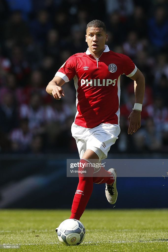 Jeffrey Bruma of PSV during the Dutch Eredivisie match between PSV Eindhoven and SC Cambuur Leeuwarden at the Phillips stadium on May 01, 2016 in Eindhoven, The Netherlands