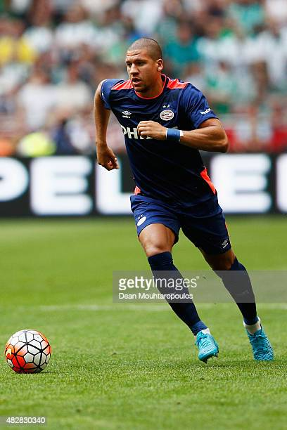 Jeffrey Bruma of PSV in action during the Johan Cruijff Shield match between FC Groningen and PSV Eindhoven on August 2 2015 in Amsterdam Netherlands