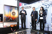 Jeffrey Cohen and Ryota Aoyagi of Citizen Watch Company make an annoucement at Citizen Watch Company Global Flagship Store Opening at Citizen Watch...