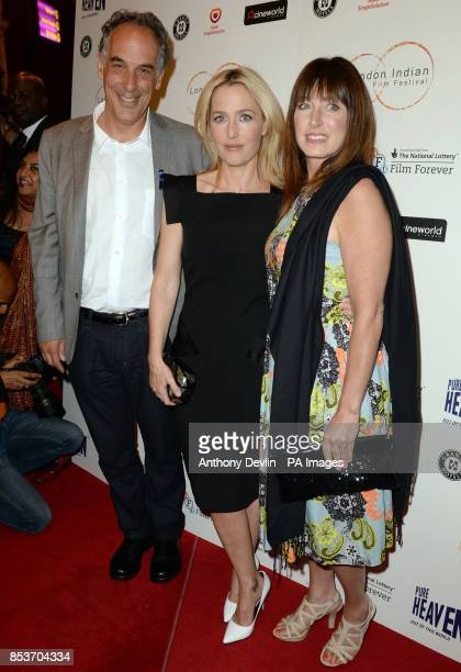 Jeffrey D Brown Gillian Anderson and Jane Charles attend the opening night of the fifth edition of the London Indian Film Festival at Cineworld...