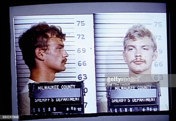 Jeffrey Dahmer poses for booking photographs at the Milwaukee County Sheriff's Department in a 1982 arrest for indecent exposure several years prior...