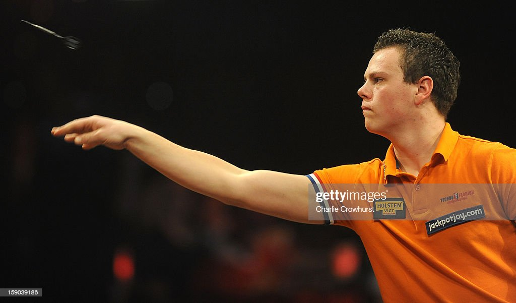 Jeffrey De Graaf of The Netherlands in action during his first round match against Jan Dekker of The Netherlands on day two of the BDO Lakeside World Professional Darts Championships at Lakeside Country Club on January 06, 2013 in London, England.