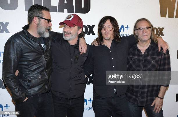 Jeffrey Dean Morgan Andrew Lincoln Norman Reedus and Greg Nicotero attend the 'The Walking Dead' Eurotour photocall at the Capitol cinema on March 9...
