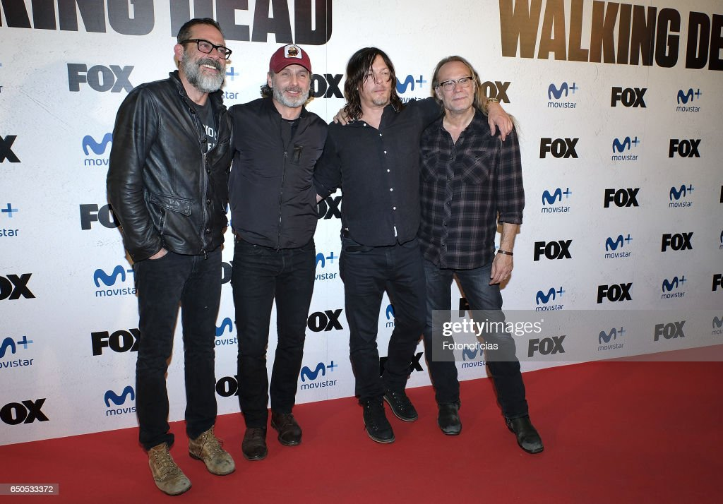 Jeffrey Dean Morgan, Andrew Lincoln, Norman Reedus and Greg Nicotero attend the 'The Walking Dead' Eurotour photocall at the Capitol cinema on March 9, 2017 in Madrid, Spain.