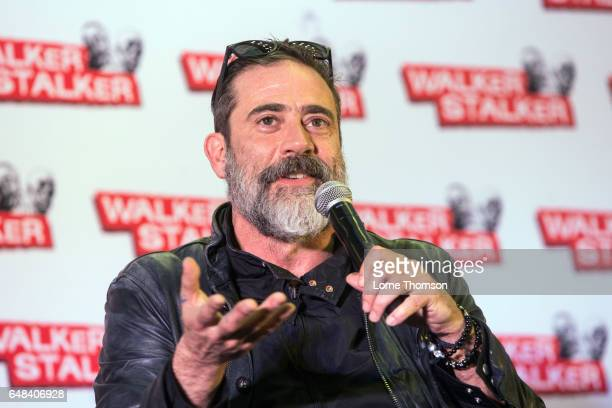 Jeffrey Dean Morgan takes part in a panel on day two of the 'Walker Stalker' convention at London Olympia on March 5 2017 in London United Kingdom