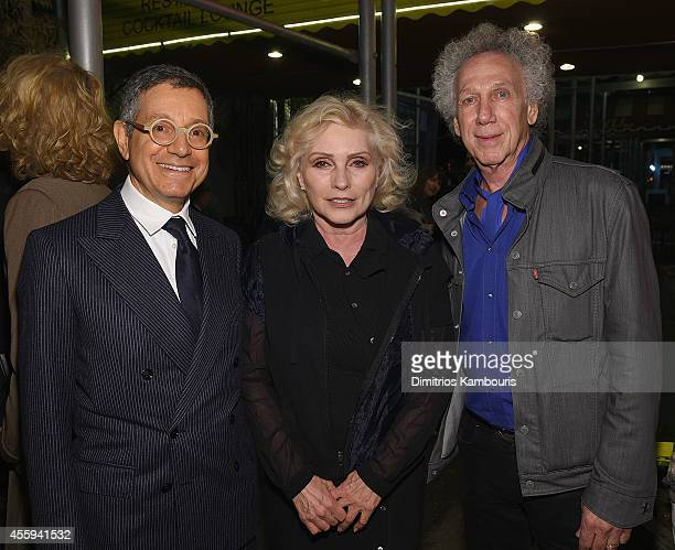 Jeffrey Deitch Debbie Harry and Bob Gruen attend The 40th Anniversary Of Blondie exhibition at Chelsea Hotel Storefront Gallery on September 22 2014...