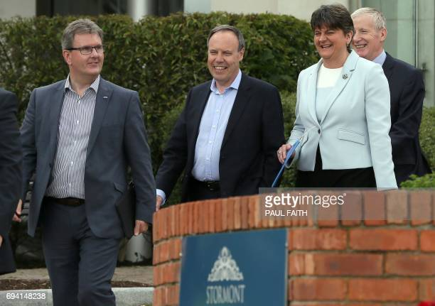 Jeffrey Donaldson Deputy leader Nigel Dodds Democratic Unionist Party leader and former Northern Ireland First Minister Arlene Foster and Gregory...