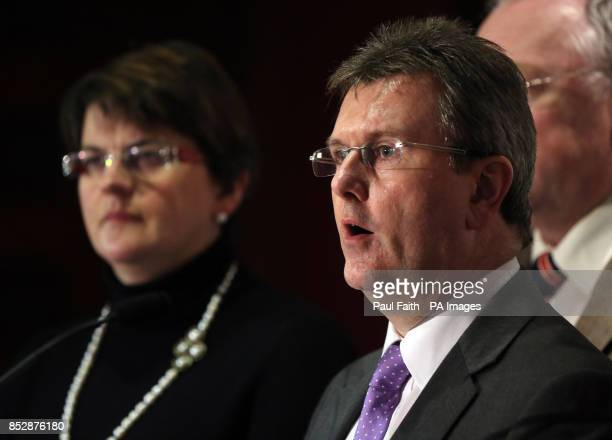 Jeffrey Donaldson of the DUP with party colleagues speaks to the media at the Stormont hotel in Belfast where all party talks chaired by Dr Richard...