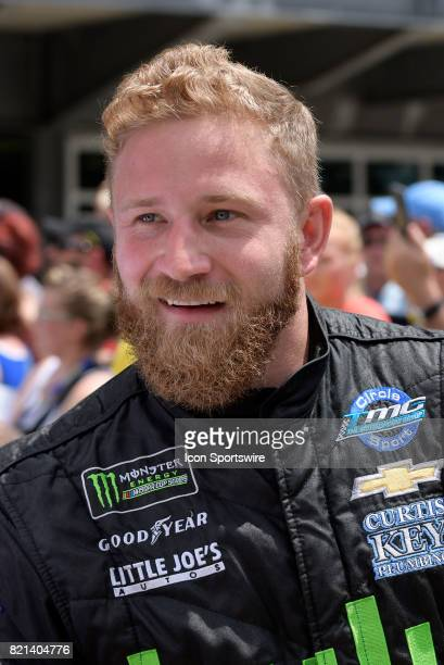 Jeffrey Earnhardt Circle Sport Racing Chevrolet SS talks with fans during driver introductions before the start of the NASCAR Monster Energy Cup...