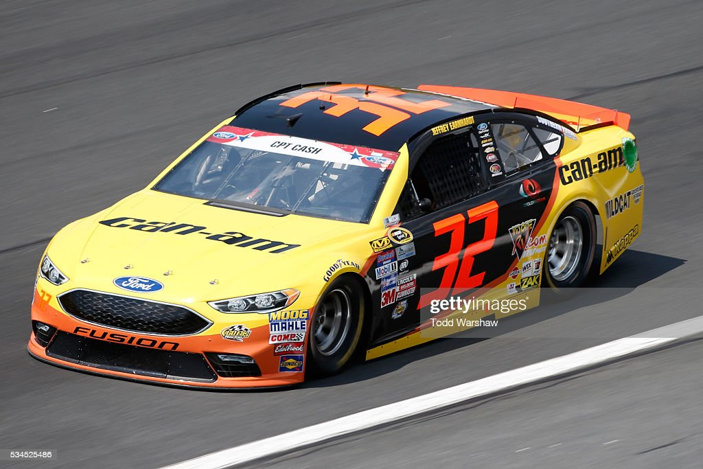 <a gi-track='captionPersonalityLinkClicked' href=/galleries/search?phrase=Jeffrey+Earnhardt&family=editorial&specificpeople=6129039 ng-click='$event.stopPropagation()'>Jeffrey Earnhardt</a>, driver of the #32 Can-Am Ford, practices for the NASCAR Sprint Cup Series Coca-Cola 600 at Charlotte Motor Speedway on May 27, 2016 in Charlotte, North Carolina.