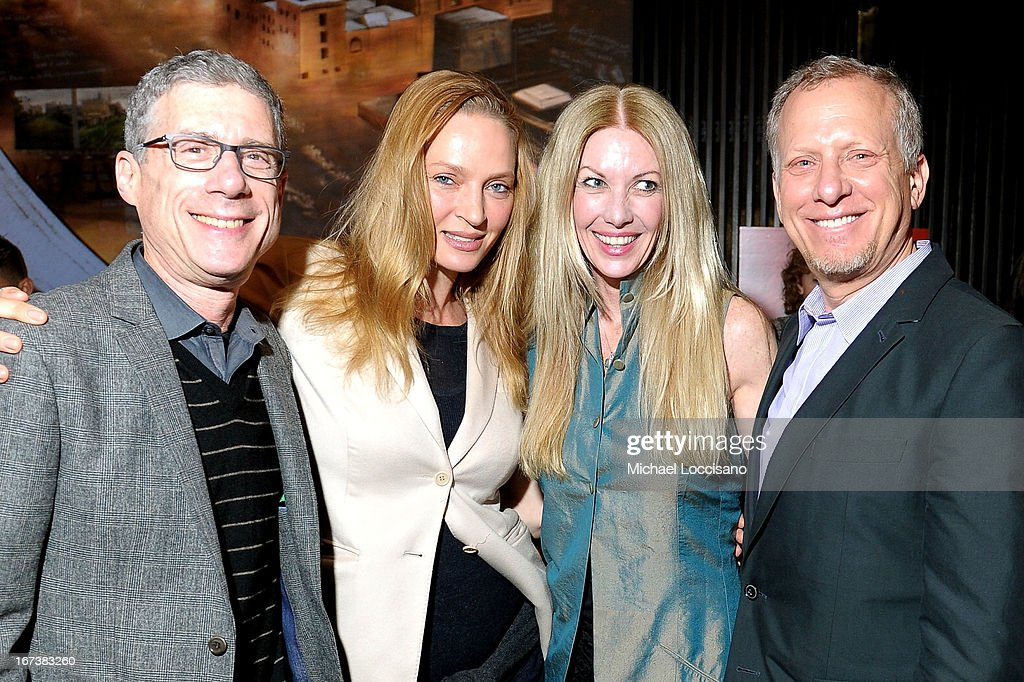 Jeffrey Friedman, actress Uma Thurman, Regan Hofmann and Rob Epstein attend HBO's 'The Battle of amFAR' premiere at Tribeca Film Festival on April 24, 2013 in New York City.