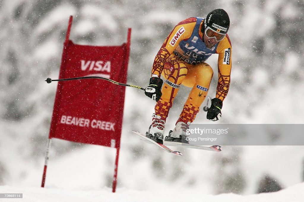 Jeffrey Frisch of Canada attacks the course in the FIS Alpine World Cup Men's Downhill on December 1, 2006 on Birds of Prey at Beaver Creek in Avon, Colorado.