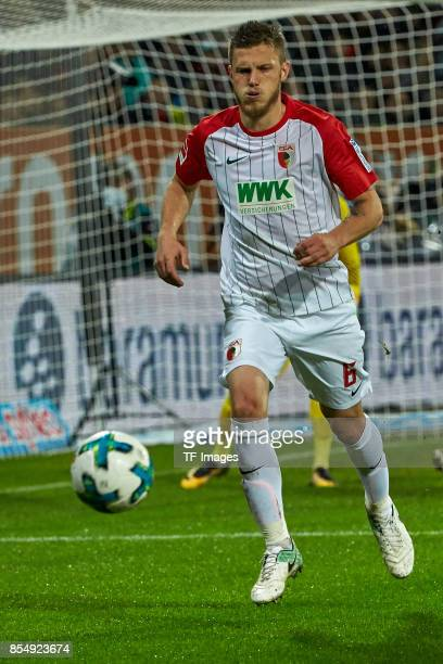 Jeffrey Gouweleeuw of Augsburg controls the ball during the Bundesliga match between FC Augsburg and RB Leipzig at WWKArena on September 19 2017 in...
