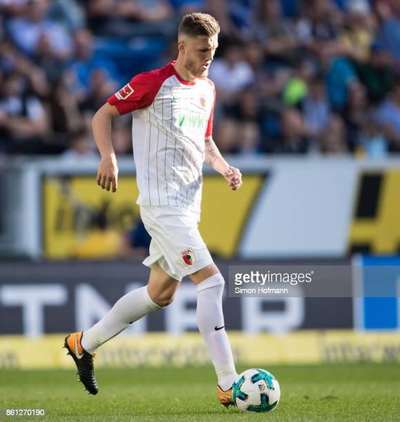 Jeffrey Gouweleeuw of Augsburg in action during the Bundesliga match between TSG 1899 Hoffenheim and FC Augsburg at Wirsol RheinNeckarArena on...