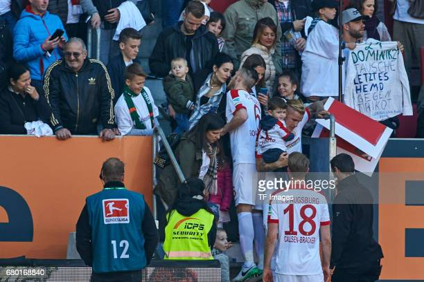 Jeffrey Gouweleeuw of Augsburg looks on during the Bundesliga match between FC Augsburg and Hamburger SV at WWK Arena on April 30 2017 in Augsburg...