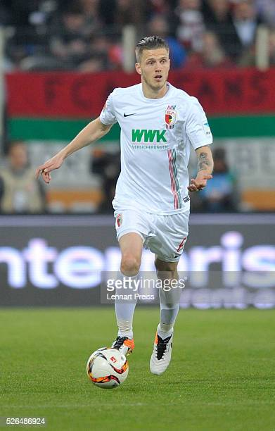 Jeffrey Gouweleeuw of FC Augsburg in action during the Bundesliga match between FC Augsburg and 1 FC Koeln at WWK Arena on April 29 2016 in Augsburg...