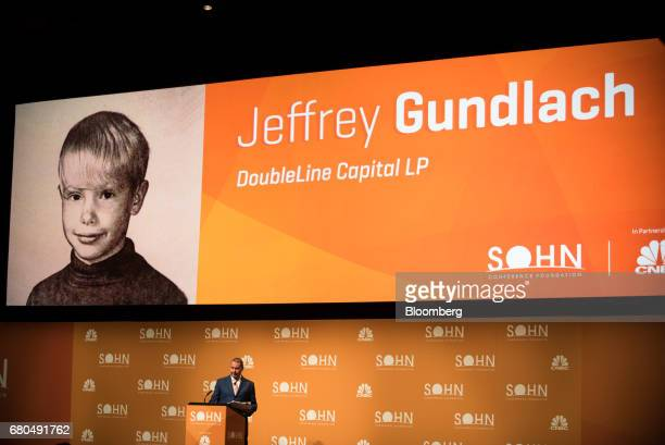 Jeffrey Gundlach chief executive officer and chief investment officer of DoubleLine Capital LP arrives on stage to speak during the 22nd annual Sohn...