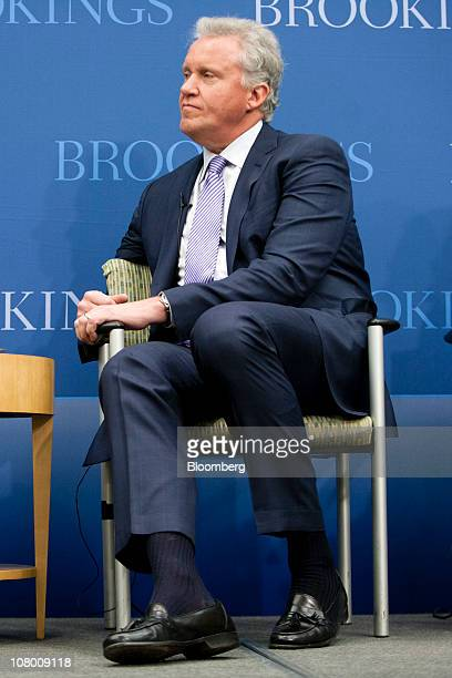 Jeffrey Immelt chairman and chief executive officer of General Electric Co listens during an event at the Brookings Institute in Washington DC US on...