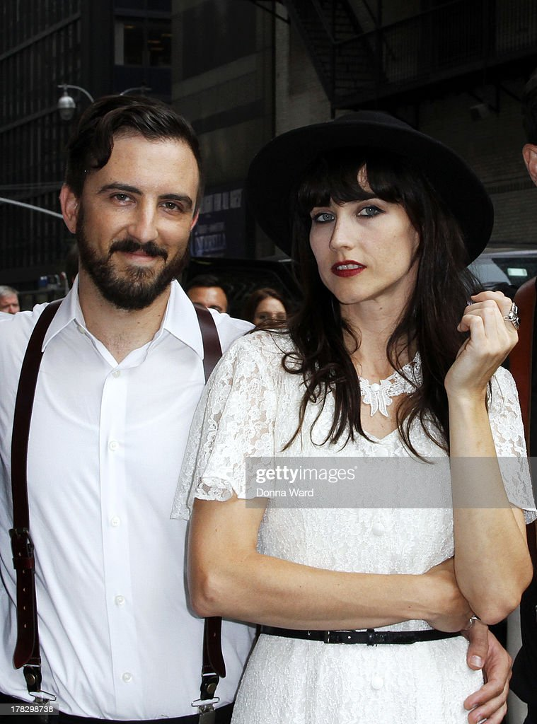 Jeffrey Jacob and Angela Gail of In the Valley Below leave the 'Late Show with David Letterman' at Ed Sullivan Theater on August 28, 2013 in New York City.