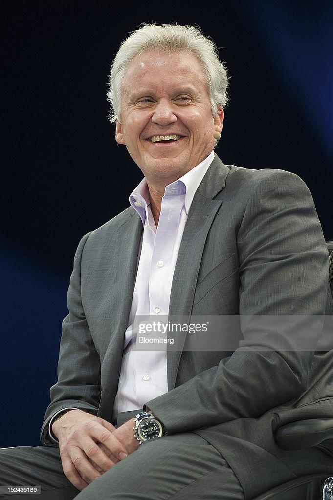 Jeffrey 'Jeff' Immelt, chairman and chief executive officer of General Electric Co. (GE), reacts as he speaks during a keynote address at the DreamForce Conference in San Francisco, California, U.S., on Thursday, Sept. 20, 2012. Salesforce.com Inc. said it's releasing a new version of its software for tablet computers and unifying its social-media marketing products into a single suite, as it races to stay ahead of new market entrants. Photographer: David Paul Morris/Bloomberg via Getty Images