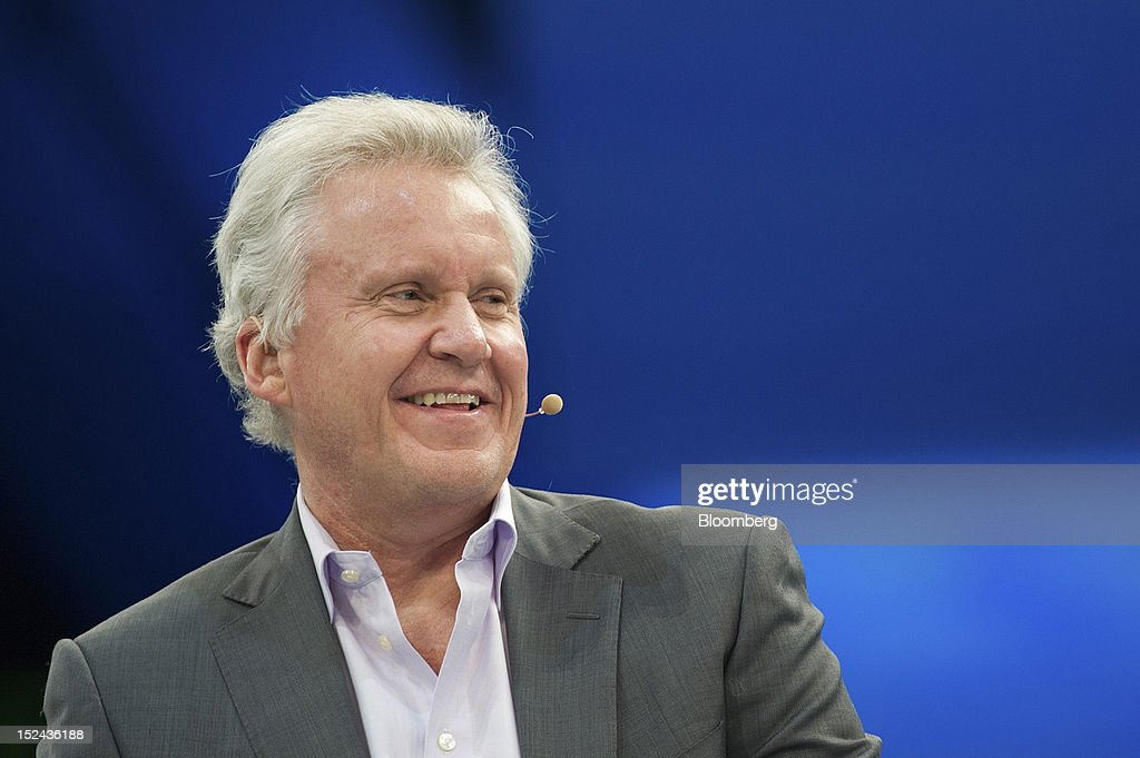 Jeffrey 'Jeff' Immelt, chairman and chief executive officer of General Electric Co. (GE), speaks during a keynote address at the DreamForce Conference in San Francisco, California, U.S., on Thursday, Sept. 20, 2012. Salesforce.com Inc. said it's releasing a new version of its software for tablet computers and unifying its social-media marketing products into a single suite, as it races to stay ahead of new market entrants. Photographer: David Paul Morris/Bloomberg via Getty Images
