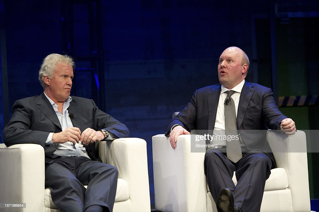 Jeffrey 'Jeff' Immelt, chairman and chief executive officer of General Electric Co. (GE), left, listens as <a gi-track='captionPersonalityLinkClicked' href=/galleries/search?phrase=Marc+Andreessen&family=editorial&specificpeople=1017643 ng-click='$event.stopPropagation()'>Marc Andreessen</a>, co-founder and partner at Andreessen Horowitz, speaks at the Minds + Machines 2012: Unleashing the Industrial Internet conference in San Francisco, California, U.S., on Thursday, Nov. 29, 2012. Thought leaders from across business, technology and academia will gather at the Minds + Machines 2012 conference to discuss the power of the Industrial Internet and why it matters. Photographer: David Paul Morris/Bloomberg via Getty Images