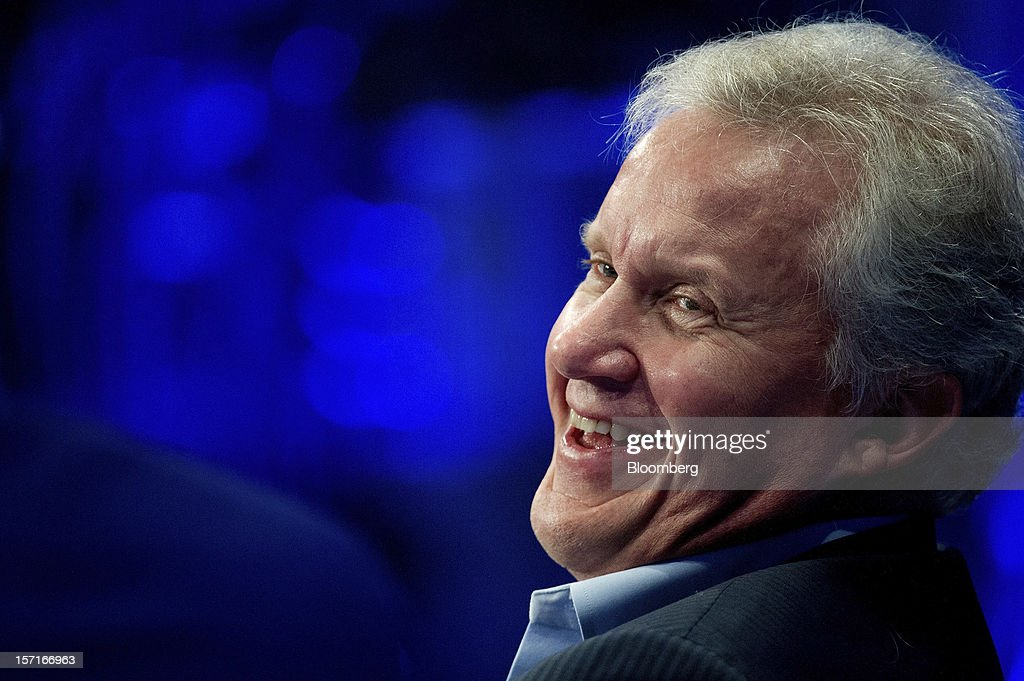 Jeffrey 'Jeff' Immelt, chairman and chief executive officer of General Electric Co. (GE), laughs during a panel discussion at the Minds + Machines 2012: Unleashing the Industrial Internet conference in San Francisco, California, U.S., on Thursday, Nov. 29, 2012. Thought leaders from across business, technology and academia will gather at the Minds + Machines 2012 conference to discuss the power of the Industrial Internet and why it matters. Photographer: David Paul Morris/Bloomberg via Getty Images