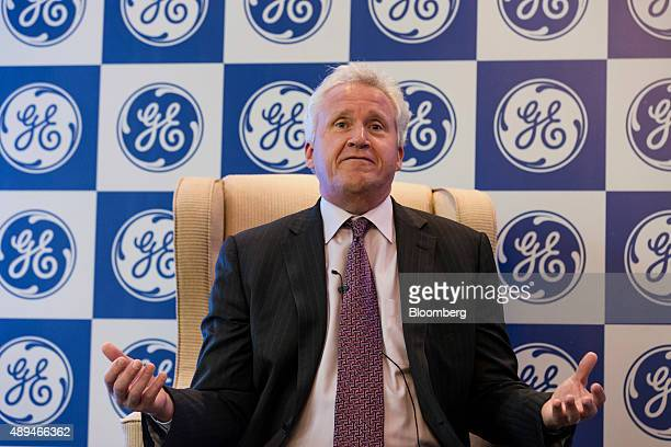 Jeffrey 'Jeff' Immelt chairman and chief executive officer of General Electric Co speaks during a media event in New Delhi India on Monday Sept 21...