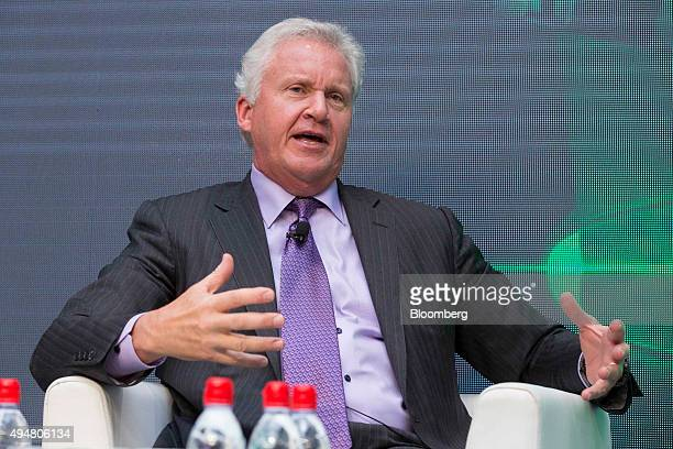 Jeffrey 'Jeff' Immelt chairman and chief executive officer of General Electric Co speaks during a General Electric Co Ecomagination forum in Paris...