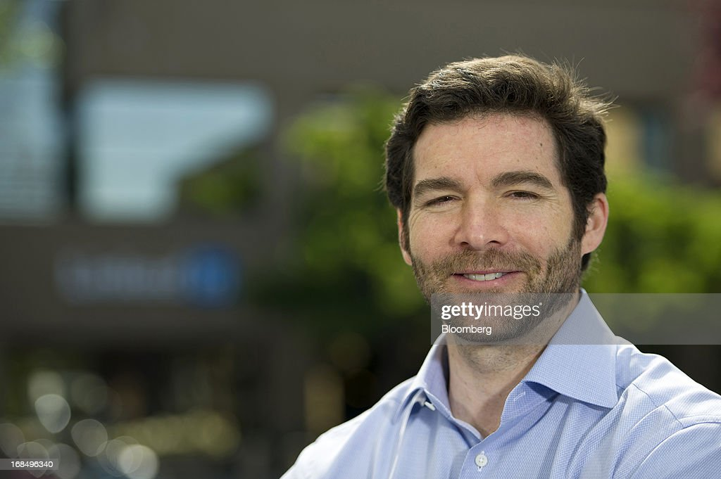 Jeffrey 'Jeff' Weiner, chief executive officer of LinkedIn Corp., sits for a photograph during a Bloomberg West television interview outside of the company's headquarters in Mountain View, California, U.S., on Thursday, May 9, 2013. The business-oriented network, which is celebrating its 10th anniversary, reported that revenue for the first-quarter of 2103 was $324.7 million, up from $188.5 million in the first quarter of 2012. Photographer: David Paul Morris/Bloomberg via Getty Images