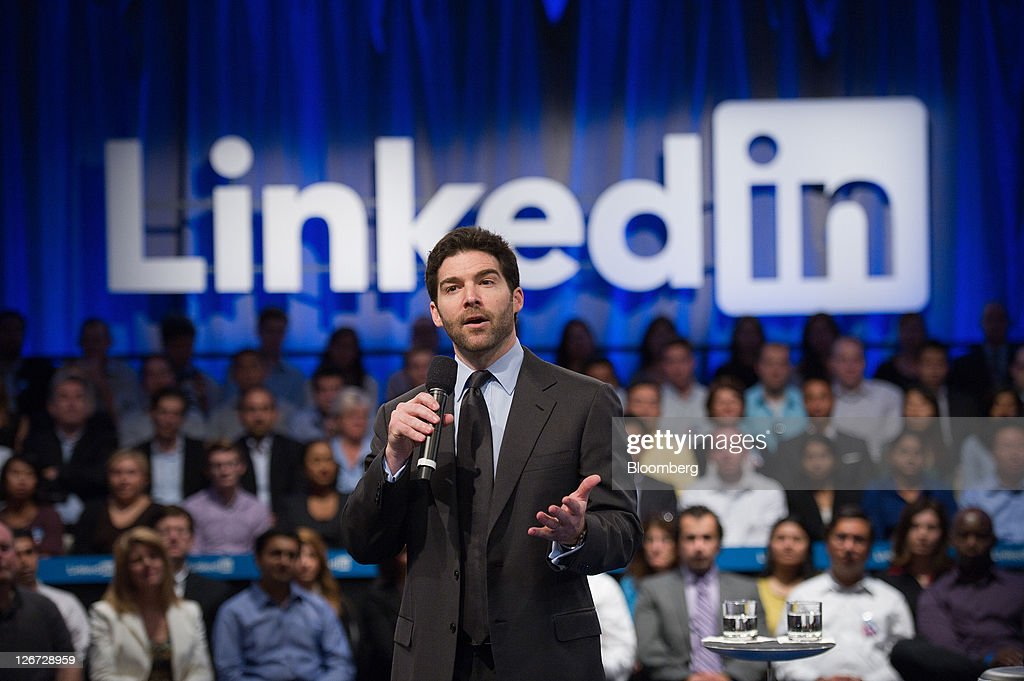 Jeffrey 'Jeff' Weiner, chief executive officer of LinkedIn Corp., speaks during a town hall event sponsored by LinkedIn in Mountain View, California, U.S., on Monday, Sept. 26, 2011. U.S. President Barack Obama said his $447 billion jobs proposal will give the U.S. economy the 'jump start' it needs to revive job growth. Photographer: David Paul Morris/Bloomberg via Getty Images