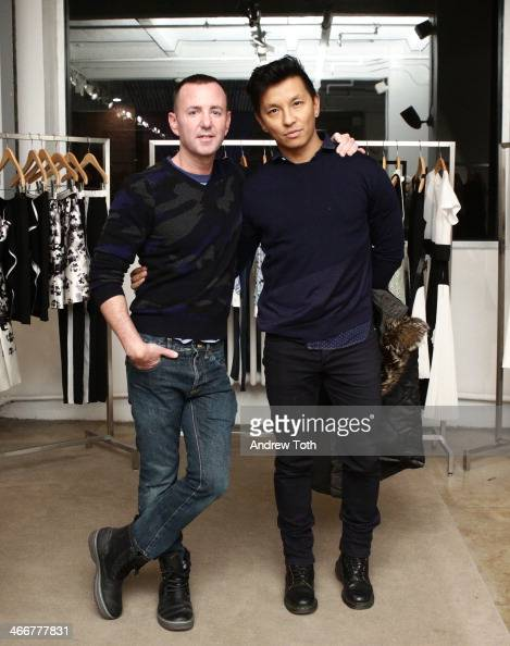 Jeffrey Kalinsky and fashion designer Prabal Gurung attend the Jeffrey Fashion Cares VIP kick off event at Jeffrey New York on February 3 2014 in New...