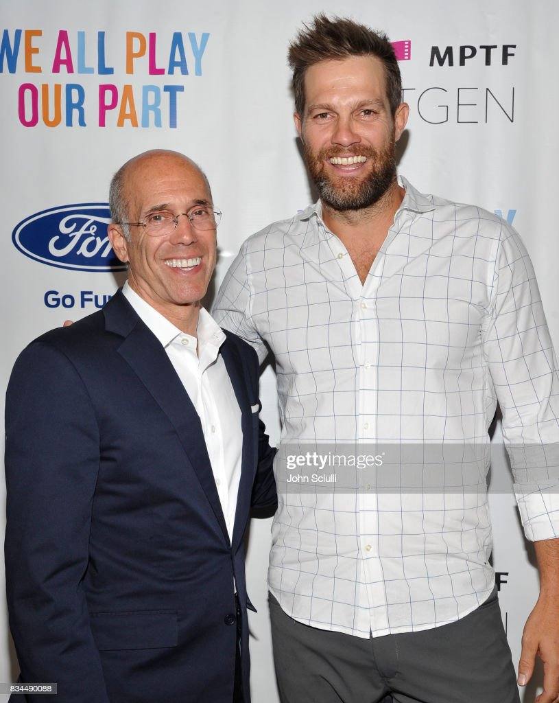 Jeffrey Katzenberg and Actor Geoff Stults attend MPTF's NextGen Summer Party presented by Ford Motor Company and hosted by Jeffrey Katzenberg at NeueHouse Los Angeles on August 17, 2017 in Hollywood, California.