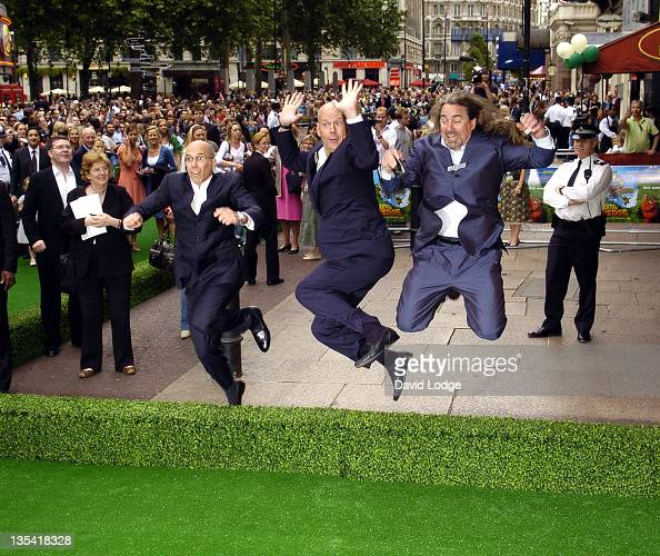 Jeffrey Katzenberg and Bruce Willis during 'Over the Hedge' London Premiere Outside Arrivals at Empire Leicester Square in London Great Britain