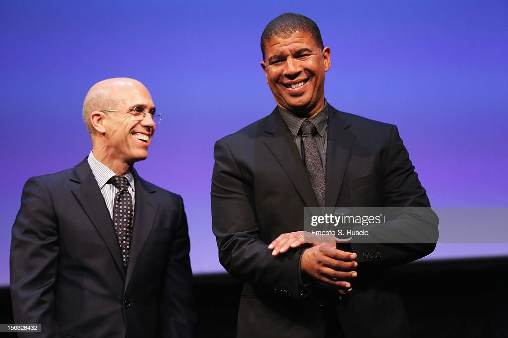 Jeffrey Katzenberg and director Peter Ramsey attend the Vanity Fair International Award for Cinematic Excellence presentation at the 7th Rome Film Festival on November 13, 2012 in Rome, Italy.