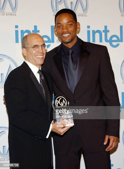 Jeffrey Katzenberg and Will Smith during The 16th Annual Producers Guild Awards Press Room at Culver Studios in Culver City California United States