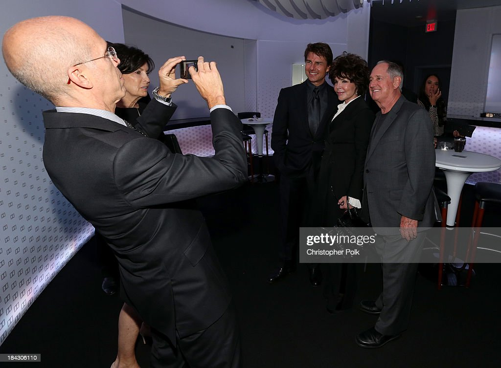 Jeffrey Katzenberg, CEO of DreamWorks Animation, Marilyn Katzenberg, actor Tom Cruise, songwriter Carole Bayer Sager, and singer Neil Sedaka attend 'Hugh Jackman... One Night Only' Benefiting MPTF at Dolby Theatre on October 12, 2013 in Hollywood, California.