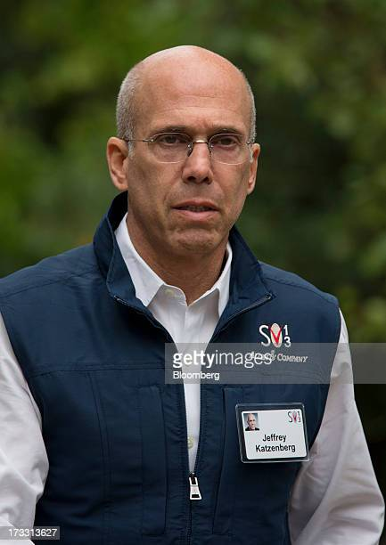 Jeffrey Katzenberg chief executive officer of DreamWorks Animation SKG Inc walks to a morning session at the Allen Co Media and Technology Conference...