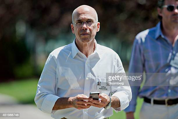 Jeffrey Katzenberg chief executive officer of DreamWorks Animation SKG Inc walks outside during a lunch break at the Allen Co Media and Technology...